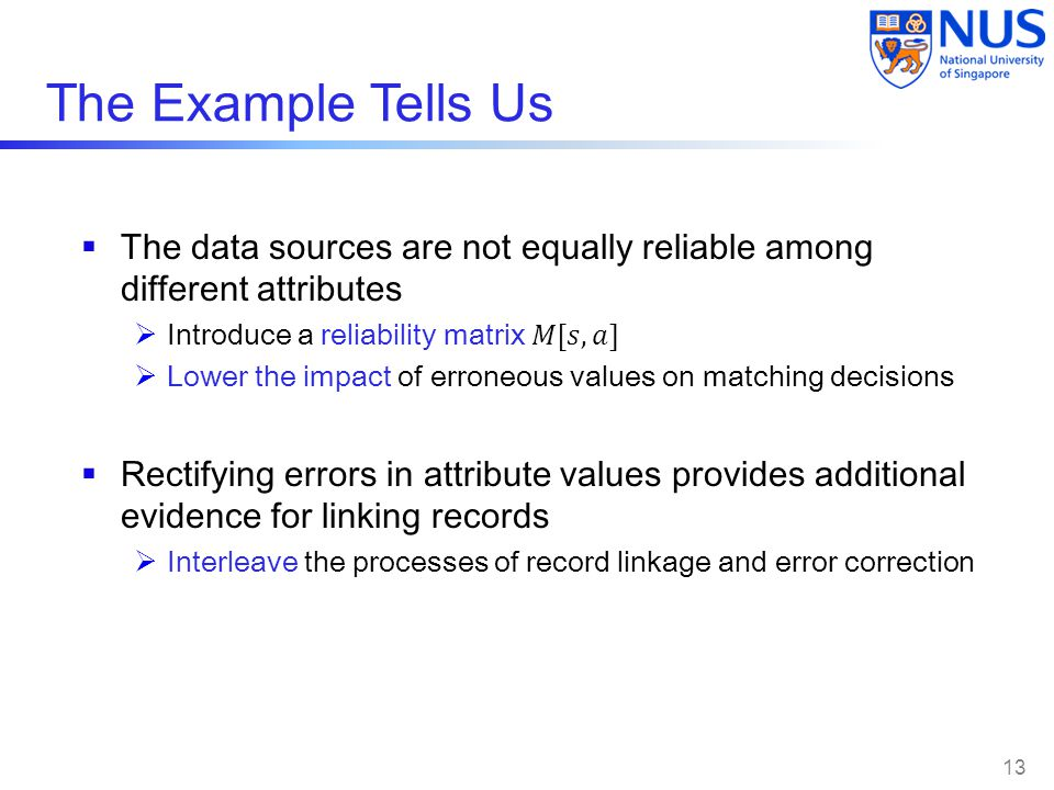 The Example Tells Us The data sources are not equally reliable among different attributes. Introduce a reliability matrix 𝑀[𝑠,𝑎]